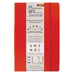 Multimedia Enhanced ME Journal, Red, 6 1/4 x 9 1/4 Lined Ivory Paper