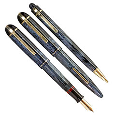 Eversharp Skyline Blue Modern Stripe Deni Set, Fine Nib