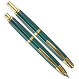 Pilot Vanishing Point Green and Gold, Medium Nib