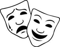 Theater masks, drama and comedy