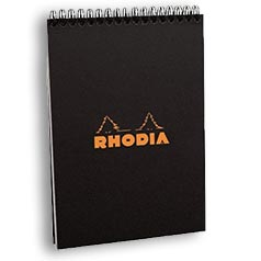 Rhodia Classic Notepads Top Wirebound 6 x 8¼ Lined Black